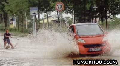 Water Skiing On A Road