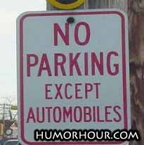 No parking, except...